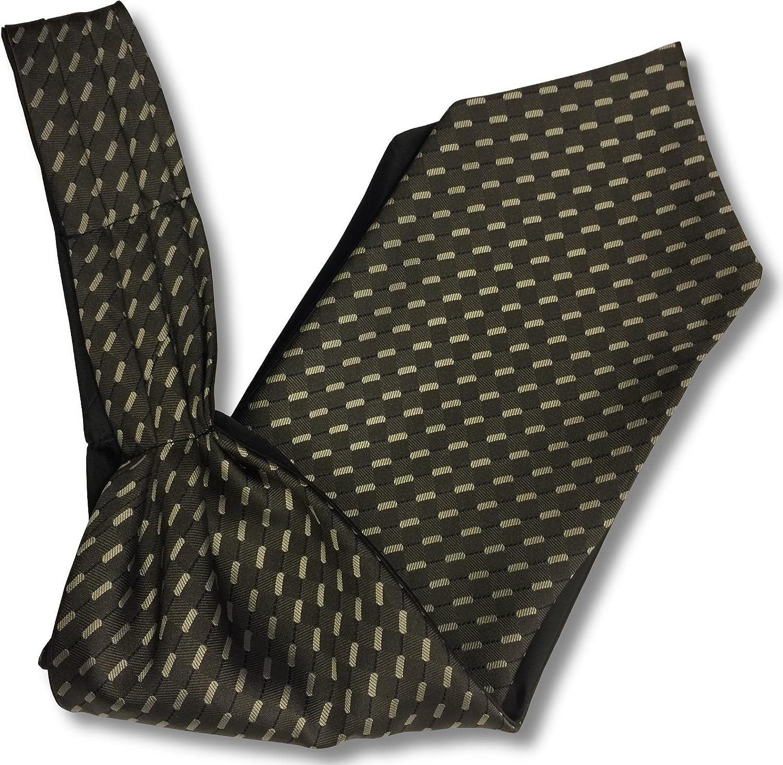 Mens 'Under Shirt' Ascot Cravat - Taupe & Beige Dash Stripe