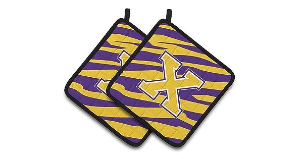 7.5HX7.5W Tiger Stripe Carolines Treasures Letter x Monogram Multicolor Purple Gold Pair of Pot Holders CJ1022-XPTHD