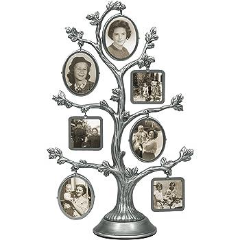 Malden International Designs Árbol de Familia Marcos Marco de Imagen, 14Opción, 7–2Cara de Metal de Moda, 14–1x 1, Plata