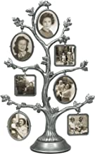 Malden International Designs Family Tree Fashion Metal Picture Frame, 14 Option, 7-2 sided frames, 14-1x1, Silver