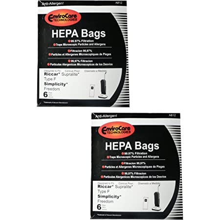12 Vacuum Bags for Riccar Supralite Simplicity Freedom Style F F3500 RSL1 F3600