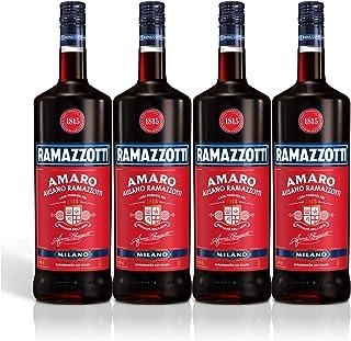 Ramazzotti Amaro Kräuterlikör 4er Set, Schnaps, Spirituose, Italienischer Likör, Alkohol, Flasche, 30%, 4 x 1.5 L