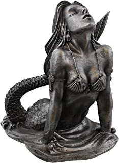 Old River Outdoors Mermaid Rising from The Sea Nautical Statue Art Sculpture - Antique Silver Finish