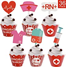 Nurse Graduation Cupcake Wrappers and Toppers Adorable Cupcake Decorations for Nurse Graduation Party Supplies - 36 Pack