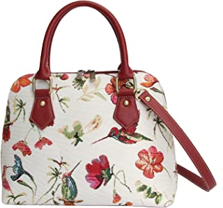 Red & White Women's Fashion Tapestry Top Handle Handbag with Detachable Strap to Convert to Shoulder Bag with Hummingbird and Flower (Conv-HUMM)