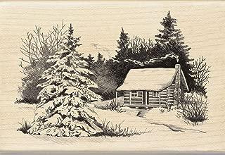 Inkadinkado Snowy Winter Cabin Wooden Christmas Stamp, 2.75'' W x 4'' L
