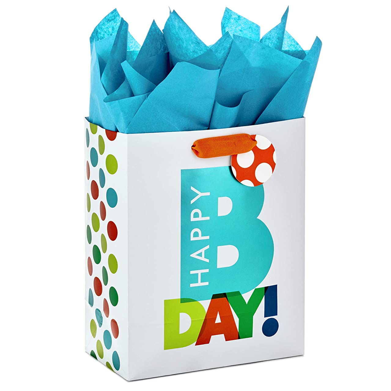 Hallmark Medium Gift Bag with Tissue Paper for Birthdays (Happy Bday)