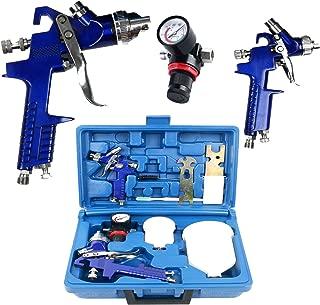 YaeTek 0.8 & 1.4 Nozzle Paint Base Primer HVLP 2-Spray Guns Kit Gauge Auto Gravity Feed