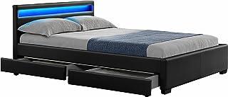 DRAWER NIGHT LIT PU NOIR MAT A LED + 4 TIROIRS 160X200 CM
