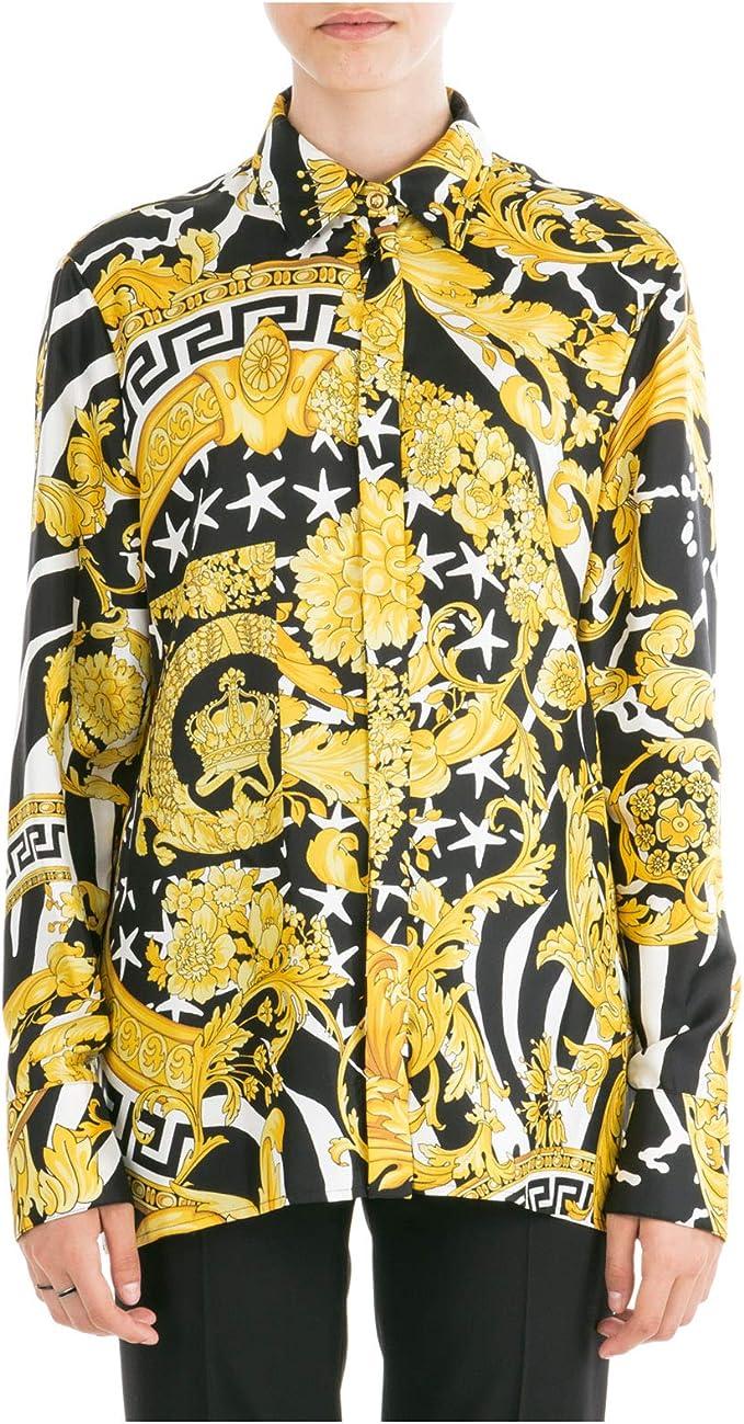 Versace Mujer Camisa Savage barocco Giallo 42 EU: Amazon.es: Ropa