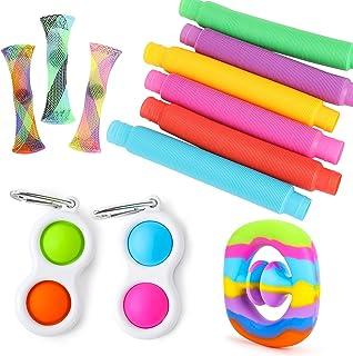 iCool Newest Sensory Fidget Toy Set 12 PCS Pack with Simple Dimple Fidget Toy, Marble Mesh Fidget Toy, Rainbow Snappers Fi...