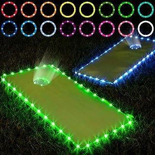 Frienda Cornhole Lights, 16 Colors Change Cornhole Board Edge and Ring LED Lights with Remote Control for Family Backyard ...