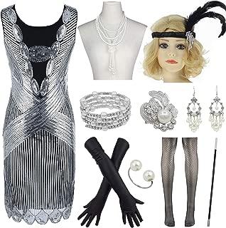JUPITSON Women's 1920s Flapper Dress Gatsby Sequin Inspired Cocktail Dress w/Accessories Set