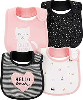 Carter's Baby Girls' 4-Pack Teething Bibs