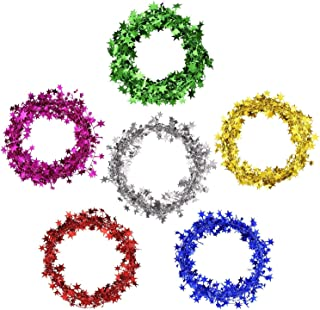 Shappy Assort Color Small Star Garland Wired Garland, 6 Colors 6 Rolls, 7.5 Meters Each Roll