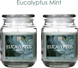 Hosley Aromatherapy Set of 2 Eucalyptus Mint Highly Scented 18 Ounce Each Jar Candle. Ideal Votive Gift for Party Favor Weddings Spa Reiki Meditation Bathroom Settings O9