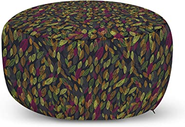 Ambesonne Leaves Pouf Cover with Zipper, Striped Leaf Graphics Various Shades Amusing Drawing Floating Pointing on Dark, Soft