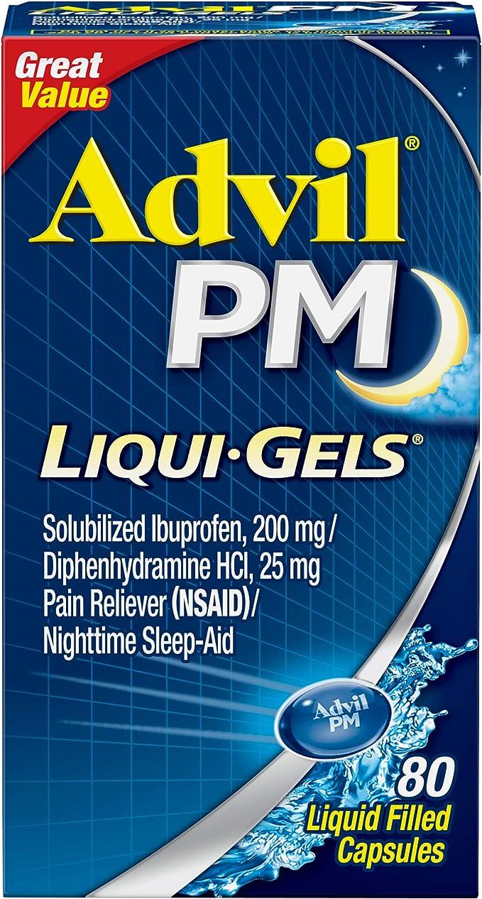 Amazon Com Advil Pm Ibuprofen 200 Mg Liqui Gels 80 Ea Health Household