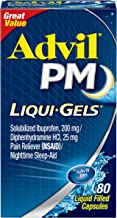 Advil PM Liqui-Gels (80 Count) Pain Reliever/Nighttime Sleep Aid Liquid Filled Capsules, 200mg Ibuprofen, 25mg Diphenhydra...
