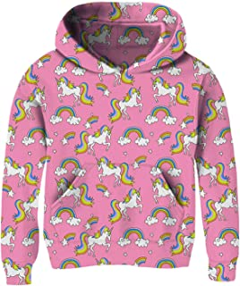 Girls 3D Print Pullover Hoodies with Pocket Kids Hooded Sweatshirt Size 4-14