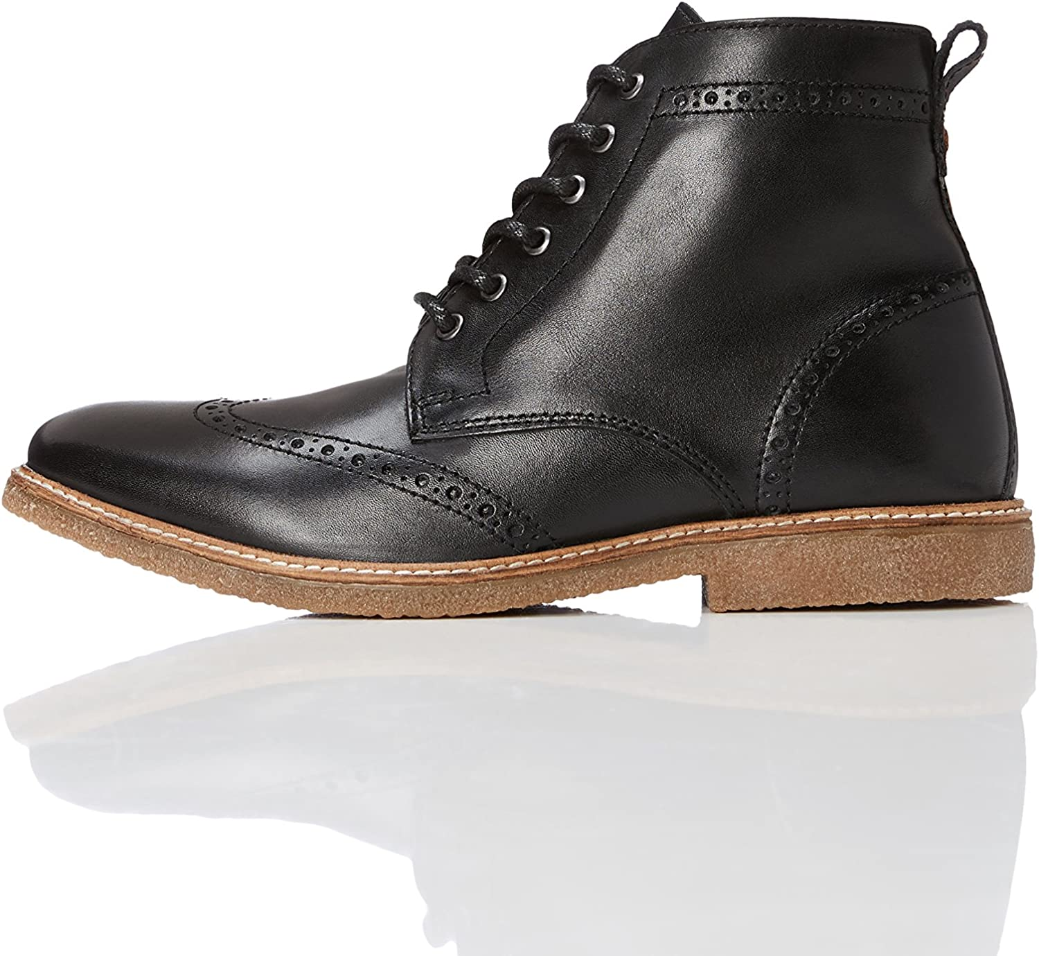 FIND Men's Leather Boots in Brogue Design with Crepe Sole