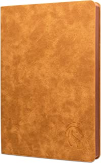 """LeStallion Soft Cover Dotted Leather Notebook - A5 Professional Bullet Leather Journal - 216 Numbered Pages, 120gsm Premium Thick Ivory Paper, 5"""" x 8.25"""" - Light Brown"""
