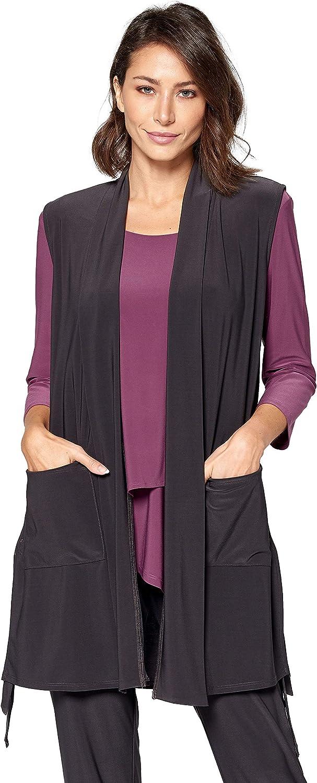 By JJ Women's Long Open Front Pocket Vest IT-152