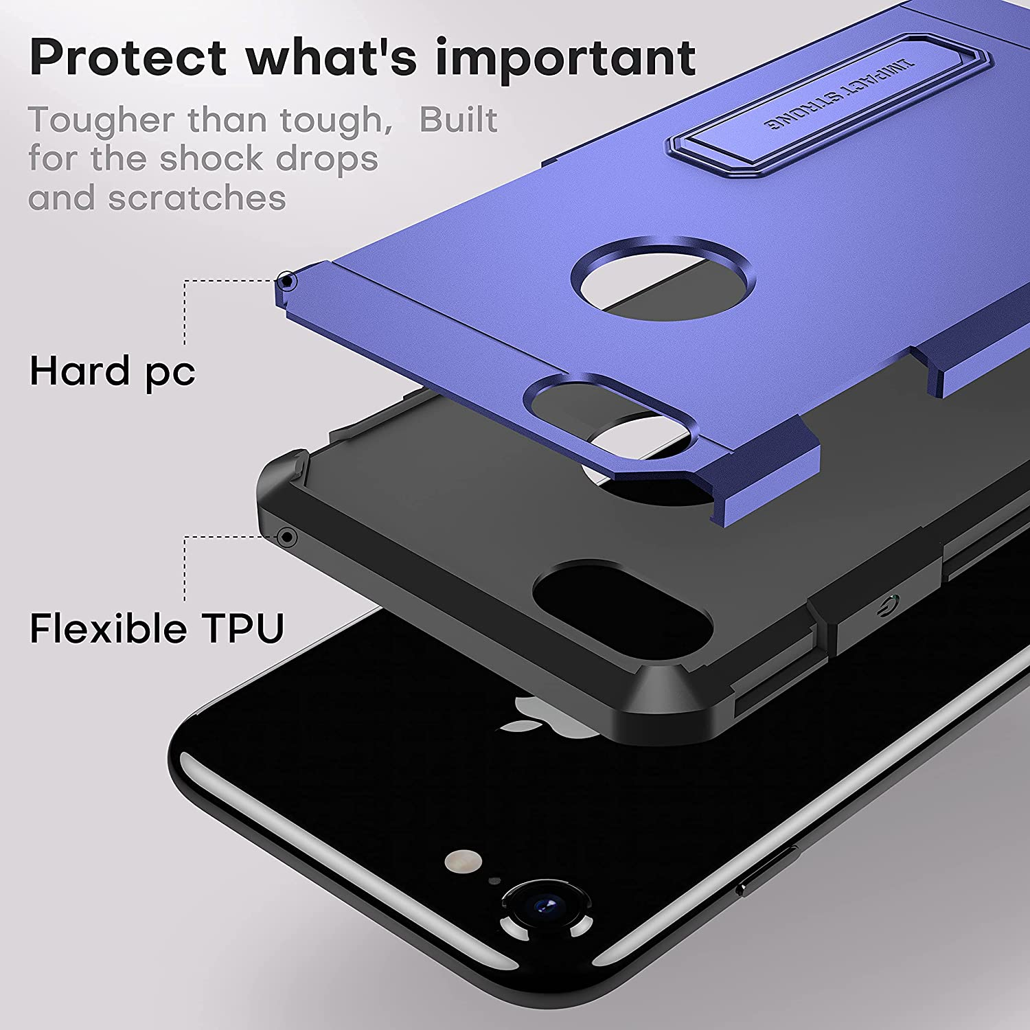 iPhone 7/8 Case, ImpactStrong Heavy Duty Dual Layer Protection Cover with Metal Kickstand Heavy Duty Case Designed for iPhone 7/8 (K-Navy Blue)