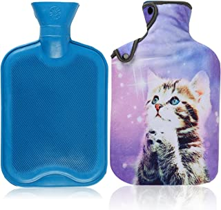 Hot Water Bottle & Cover Set,AUPET 2 Liters Premium Classic Rubber Hot Water Bottle with Super Luxurious Cozy Soft Flannel Cover Set, Great for Pain Relief, Hot and Cold Therapy (Purple Wish Cat)