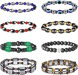 Thunaraz 8Pcs Hematite Bracelet Magnetic Bracelets for Men Women Therapy Slimming Bracelets Releif Energy Reiki Healing Bracelet