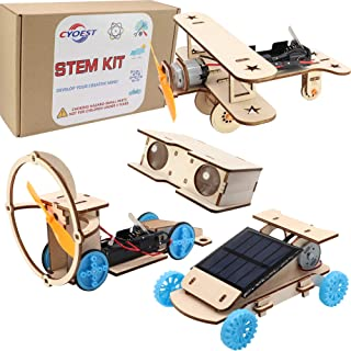 CYOEST DIY Wooden Science Experiment Model Kit Solar Power Car,Electric Motor Biplane Glider,Toy Binoculars and Wind Power...
