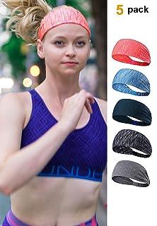 ICON FOLKS Sports Workout Running Athletic Fitness Gym Yoga Moisture Wicking Crossfit Non Slip Lightweight Headband Sweatband Trendy Stylish Headscarf fits All Men & Women