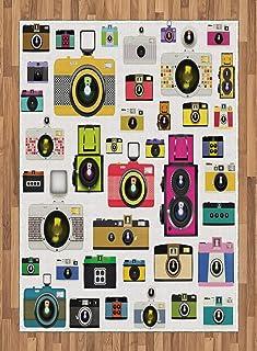 ABAKUHAUS Vintage Alfombra de Área Cámaras Fotográficas Vintage Antiguas Pasatiempo Artístico Tema Estudio Diseño Tejido Durable Decoración para Cualquier Ambiente 160 x 230 cm Multicolor
