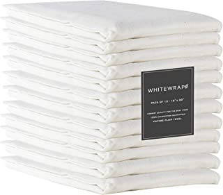 WHITEWRAP Pack of 12 Kitchen Dish Towels 100% Natural Ring Spun Cotton Soft Highly Absorbent Quick Dry Reusable Dish Cloth...