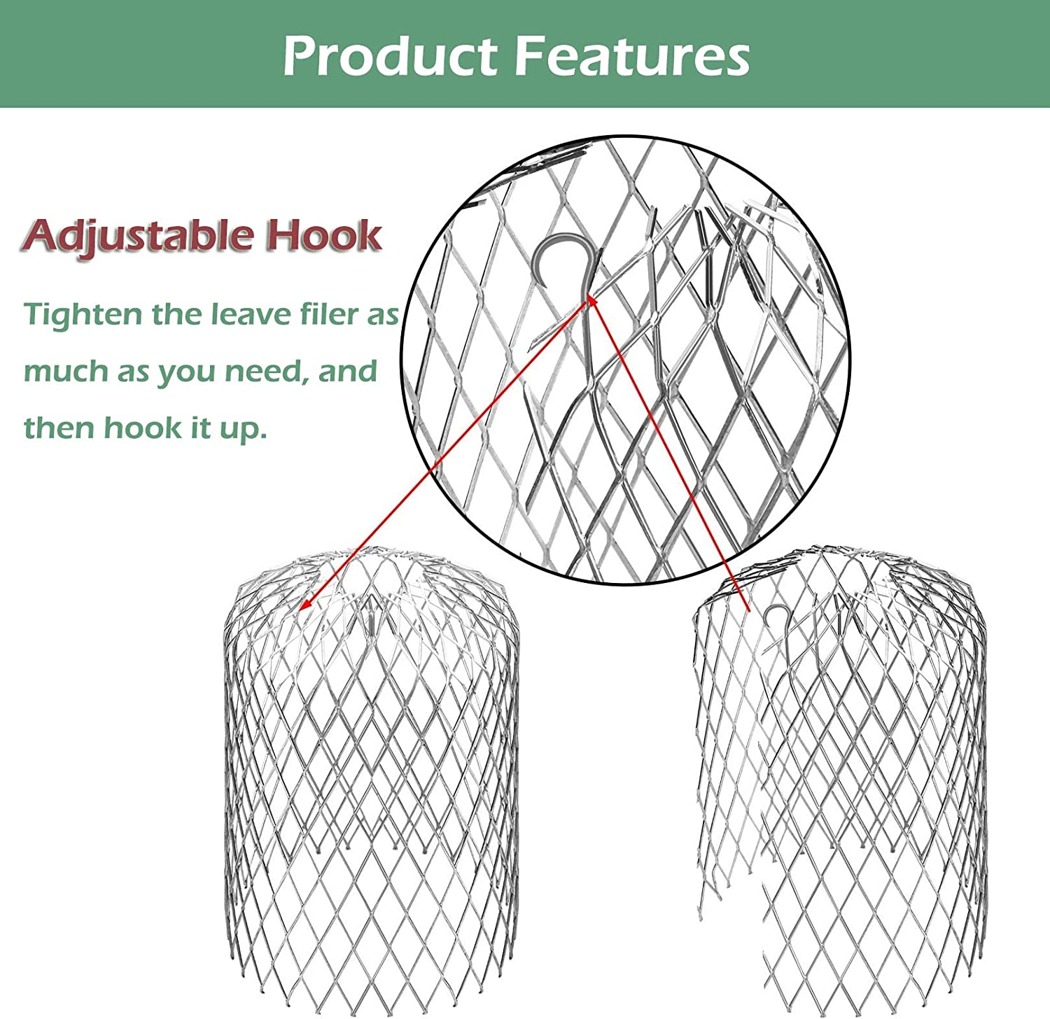 Rain Filter Gutter Guard Leaf Filters 4 Inch 6 Pack Expandable Aluminum Mesh Down-Pipe Cover Strainer Avoid Blockage from Leaves and Debris