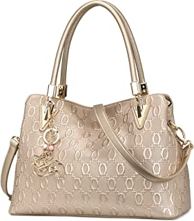 Leder-Handtasche für Frauen, Damen-Handtasche mit Tragegriff oben, Umhängetasche, Schultertasche