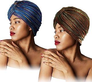 SATINIOR 2 Pieces Pleated Glittered Turban Hat for Women Knot Headwrap Soft Sleep Cap Headwear