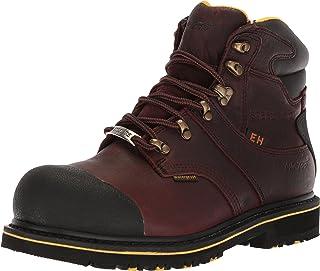 حذاء رجالي AdTec من الصلب مقاس 6 بوصات، حذاء برقبة للكاحل من الجلد، بني داكن، مقاس 9 M US