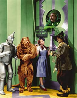 Wizard of Oz Cast Judy Garland Ray Bolger Bert Lahr Jack Haley at the door of the Wizard with gatekeeper Frank Morgan 8x10 Photo