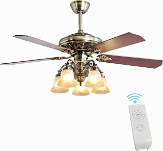 Indoor Ceiling Fan Light Fixtures - FINXIN New Bronze Remote LED 52 Ceiling Fans For Bedroom,Living Room,Dining Room Inclu...