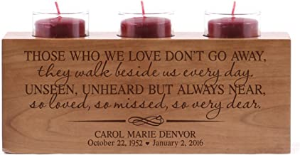 LifeSong Milestones Personalized Those Who We Love Don't Go Away Memorial Sympathy Funeral Candle Holder Custom Engraved Cherry Wood Keepsake Ideas for Loved One 10