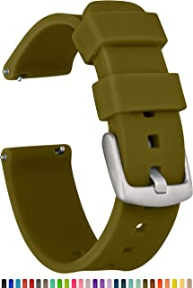 GadgetWraps 18mm Silicone Watch Band Strap with Quick Release Pins – Compatible with Fossil, Daniel Wellington, Wristology - 18mm Quick Release Watch Band (Olive Green, 18mm)