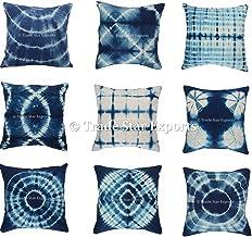Trade Star Exports Set of 5 Tie Dye Cushion Cover, 16x16 Indigo Pillowcase, Shibori Cushion, Cotton Square Pillow Cover, B...