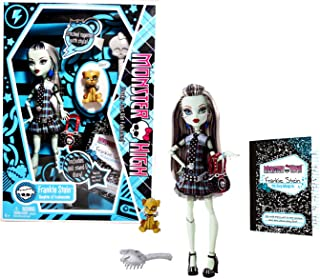 "Mattel Year 2009 Monster High ""Freaky Just Got Fabulous"" Diary Series 10 Inch Doll - Frankie Stein ""Daughter of Frankenstein"" with Purse, Pet ""Watzit"", Hairbrush, Diary and Doll Stand (N5948)"