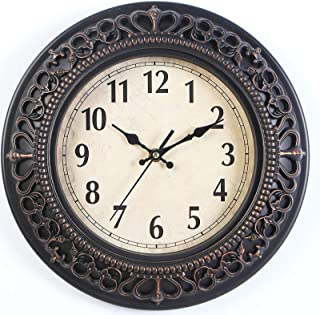 Retro Wall Clock, 12 Inch Round Classic Clock Vintage Design, Silent Battery Operated Non Ticking Decorative, for Office, ...