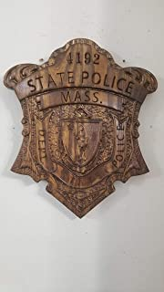 Personalized Massachusetts State Police Trooper Badge V Carved Wooden Sign.