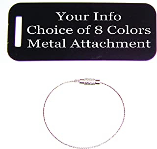 Engraved Personalized Metal Luggage Tag Choice of Colors