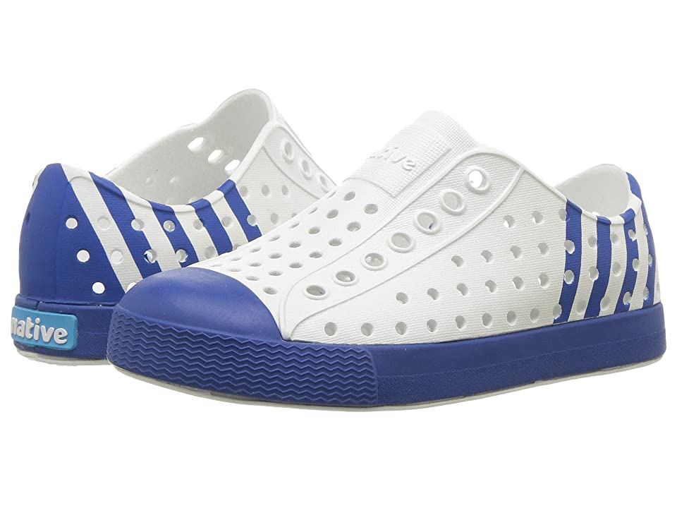 Native Kids Shoes Jefferson Block (Toddler/Little Kid) (Shell White/Victoria Blue/Victoria Stripe) Kids Shoes
