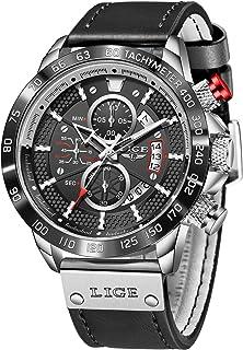 LIGE Mens Watches Fashion Waterproof Sports Chronograph Analogue Quartz Stainless Steel Black Dial Leather Bracelet Wristw...
