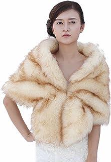 Aukmla Women's Bridal Wedding Fur Shawls and Wraps, Fur Stoles for Women